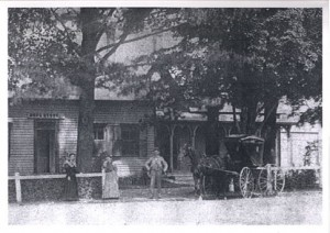 Dr. Frederick Cutter Sr.'s drug store adjacent to his house, at the intersection of Academy and Principale North (northeast corner).
