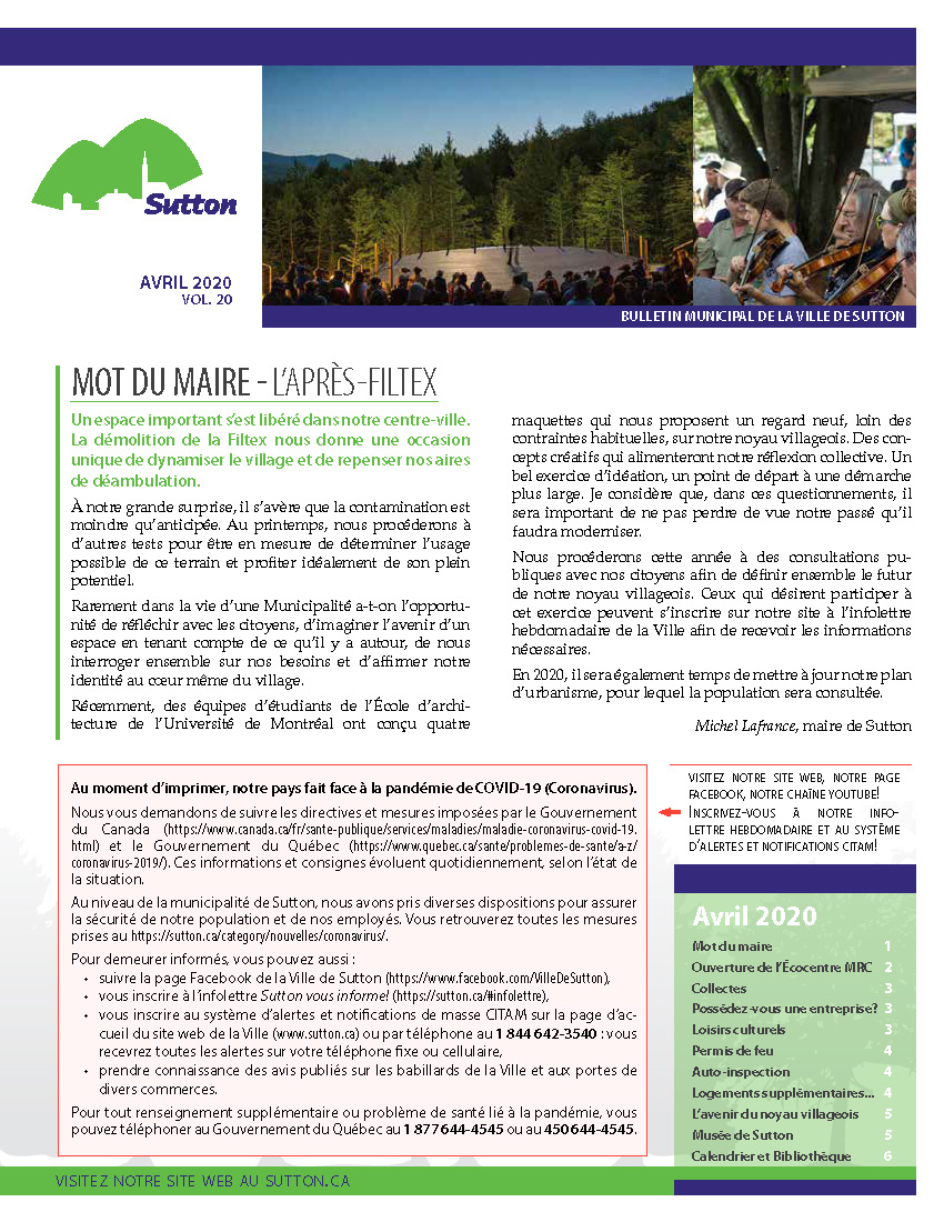 Bulletin Avril 2020 No20